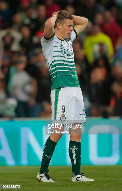 Julio Furch of Santos gestures during the 3rd round match between Santos Laguna and Morelia as part of the Torneo Clausura 2018 Liga MX at Corona...