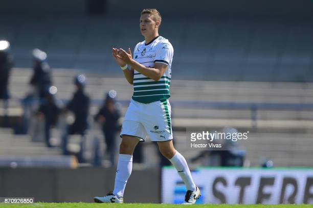 Julio Furch of Santos Laguna celebrates after scoring the first goal of his team during the 16th round match between Pumas UNAM and Santos Laguna as...