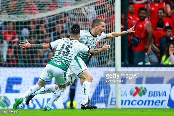 Julio Furch of Santos Laguna celebrates after scoring the first goal of his team during the Final second leg match between Toluca and Santos Laguna...