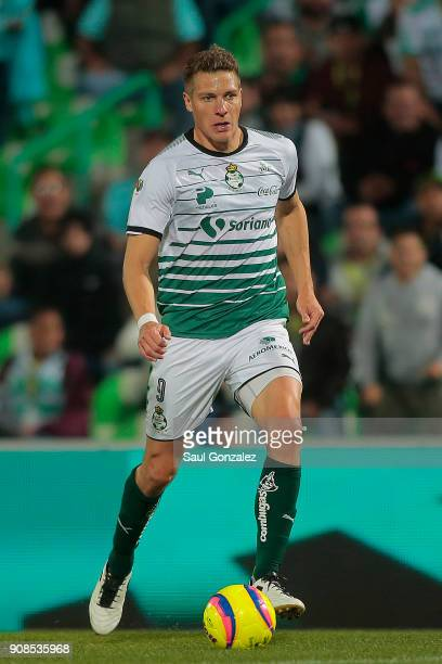 Julio Furch of Santos plays the ball during the 3rd round match between Santos Laguna and Morelia as part of the Torneo Clausura 2018 Liga MX at...