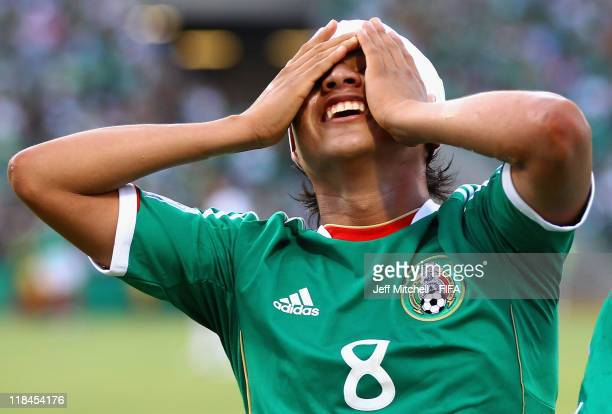 Julio Gomez of Mexico celebrates scoring the winning goal during the FIFA U17 World Cup Mexico 2011 Semi Final between Germany and Mexico at the...
