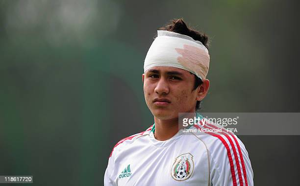 Julio Gomez of Mexico looks on during a Mexico training session prior to their FIFA U17 World Cup Final match against Uruguay at the Pumas training...