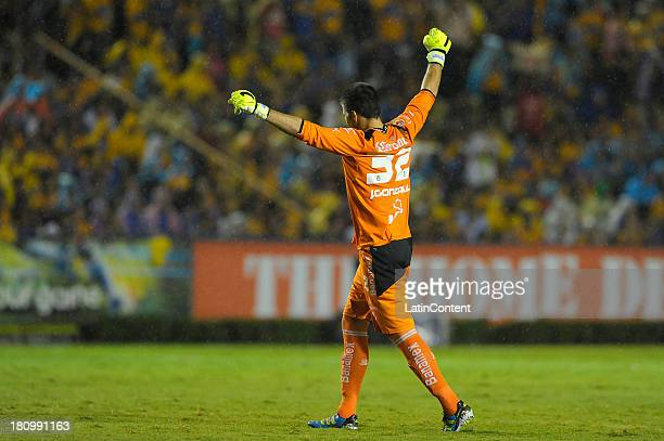 Julio González of Santos celebrates during a match between Tigres UANL and Santos Laguna as part of the Copa MX at Universitario stadium on September...