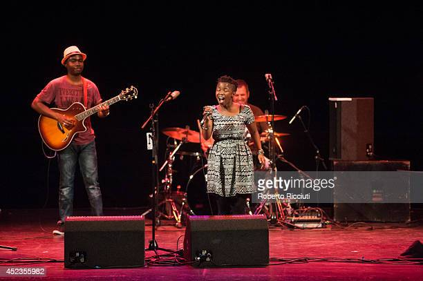 Julio Gugs Sigaque Zolani Mahola and Peter Cohen of Freshlyground perform on stage for Mandela Day Concert at Edinburgh Jazz Blues Festival at...
