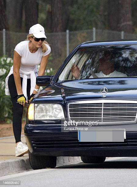 Julio Iglesias and his wife Miranda Rijnsburger are seen kissing each other while their children are seen playing on June 5, 2012 in Marbella, Spain.