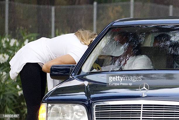 Julio Iglesias and his wife Miranda Rijnsburger are seen kissing each other while their children are playing on June 5, 2012 in Marbella, Spain.