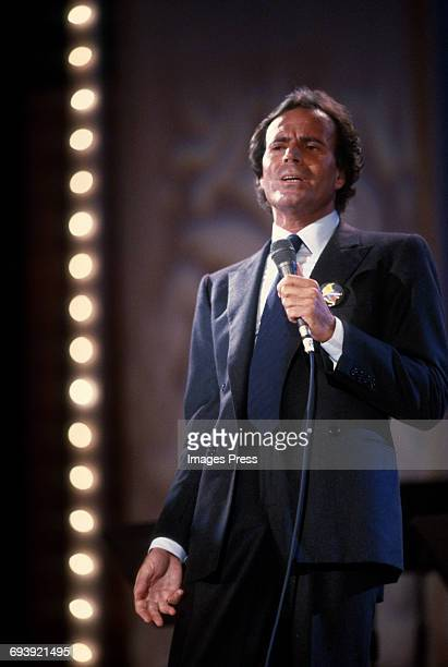 Julio Iglesias on stage during a Telethon for Colombia circa 1985 in New York City