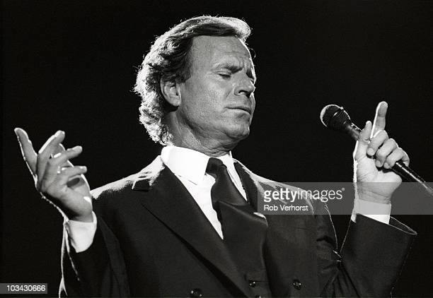 Julio Iglesias performs on stage at Ahoy on 12th September 1991 in Rotterdam Netherlands