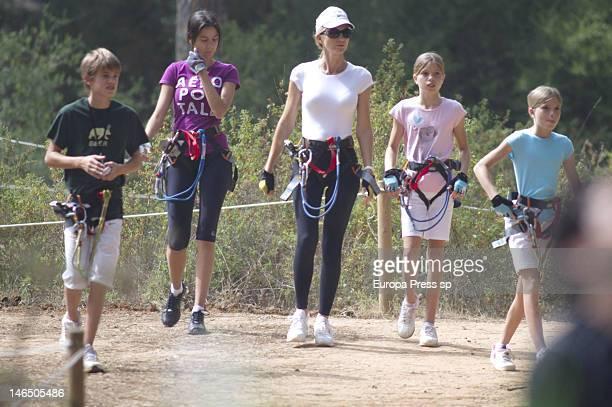 Julio Iglesias' wife Miranda Rinsjburger and her daughters Victoria Iglesias , Cristina Iglesias and Rodrigo Iglesias are seen playing with tirolina...