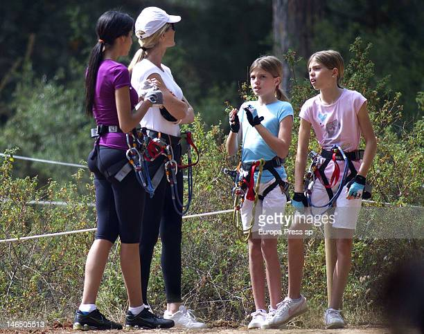 Julio Iglesias' wife Miranda Rinsjburger and her daughters Victoria Iglesias and Cristina Iglesias are seen playing with tirolina on June 5, 2012 in...