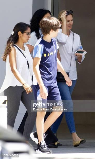 Julio Iglesias's wife Miranda Rijnsburger and her son Guillermo Iglesias are seen on June 19 2018 in Marbella Spain