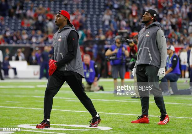 Julio Jones of the Atlanta Falcons and Mohamed Sanu warm up before Super Bowl 51 against the New England Patriots at NRG Stadium on February 5 2017...