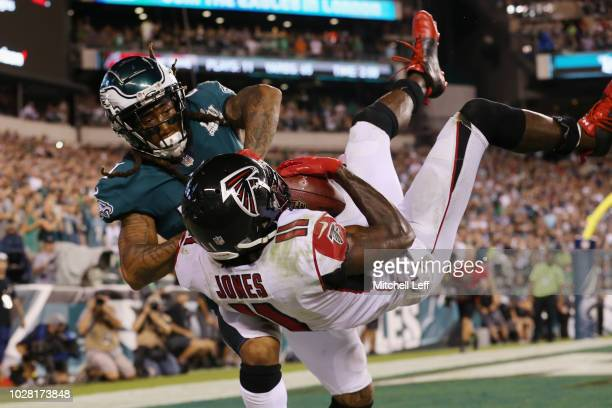 Julio Jones of the Atlanta Falcons is unable to make a reception in the end zone as he is defended by Ronald Darby of the Philadelphia Eagles during...