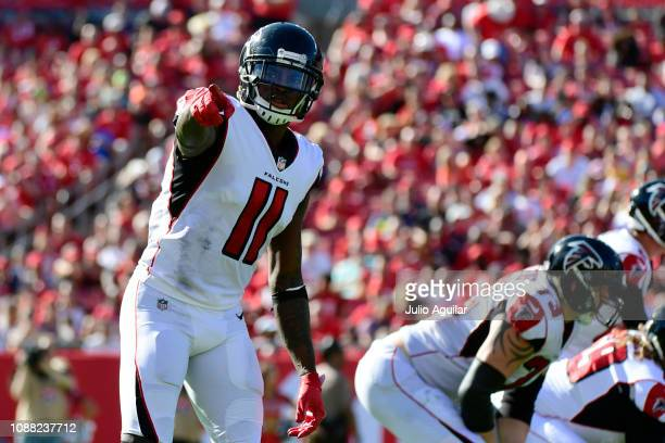 Julio Jones of the Atlanta Falcons points to the sideline during the fourth quarter against the Tampa Bay Buccaneers at Raymond James Stadium on...