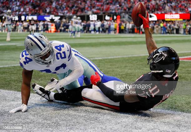 Julio Jones of the Atlanta Falcons pulls in this touchdown reception against Chidobe Awuzie of the Dallas Cowboys at MercedesBenz Stadium on November...