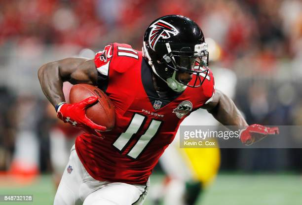 Julio Jones of the Atlanta Falcons runs after making a reception during the first half against the Green Bay Packers at MercedesBenz Stadium on...