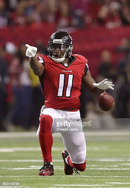 Julio Jones of the Atlanta Falcons signals a first down in the third quarter against the Green Bay Packers in the NFC Championship Game at the...