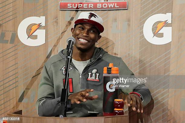 Julio Jones of the Atlanta Falcons speaks with the media during Super Bowl 51 Opening Night at Minute Maid Park on January 30 2017 in Houston Texas