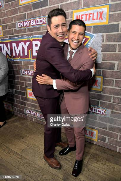 Julio Macias and Danny Ramirez attend the 'On My Block' S2 Launch Event at Petty Cash Taqueria on March 27, 2019 in Los Angeles, California.
