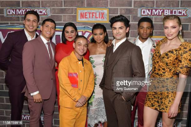 Julio Macias Danny Ramirez Jessica Maria Garcia Jason Genao Sierra Capri Diego Tinoco Brett Gray and Shoshana Bush attend premiere of Netflix's On My...