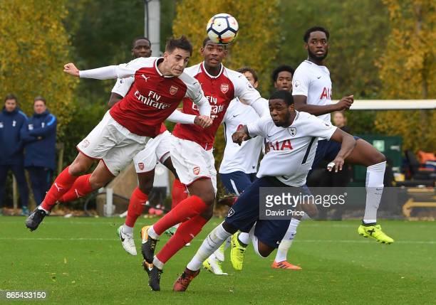 Julio Pleguezuelo an Zech Medley of Arsenal challenge Japhet Tanganga and Christian Maghoma of Tottenham for the ball during the match between...