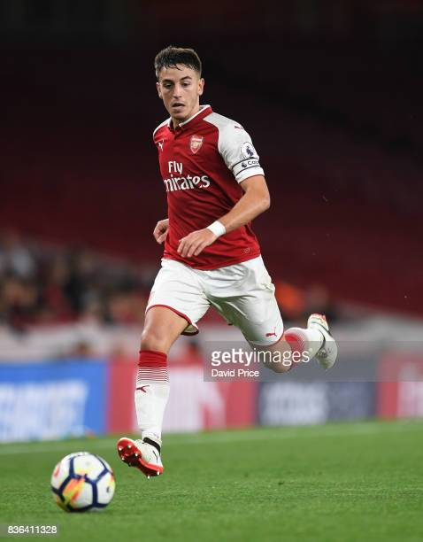 Julio Pleguezuelo of Arsenal during the match between Arsenal U23 and Manchester City U23 at Emirates Stadium on August 21 2017 in London England