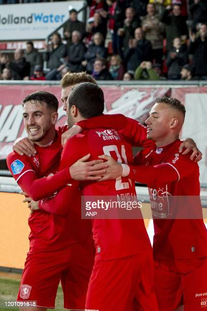 Julio Pleguezuelo of FC Twente Oriol Busquets of FC TwenteGiorgi Aburjania of FC Twente Noa Lang of FC Twente during the Dutch Eredivisie match...