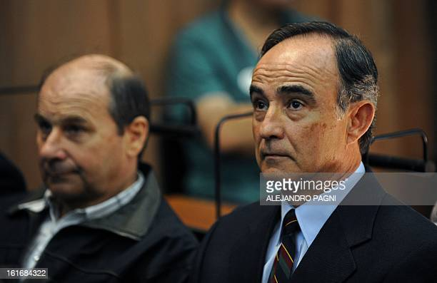 Julio Poch a Dutch national and a former Argentine naval aviator extradited from Spain in May 2010 attends a trial as defendant in Buenos Aires on...