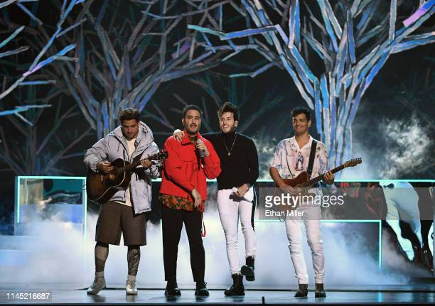 Julio Ramirez Eguia and Jesus Alberto Navarro Rosas of the band Reik singer/songwriter Sebastian Yatra and Gilberto Bibi Marin Espinoza of Reik...