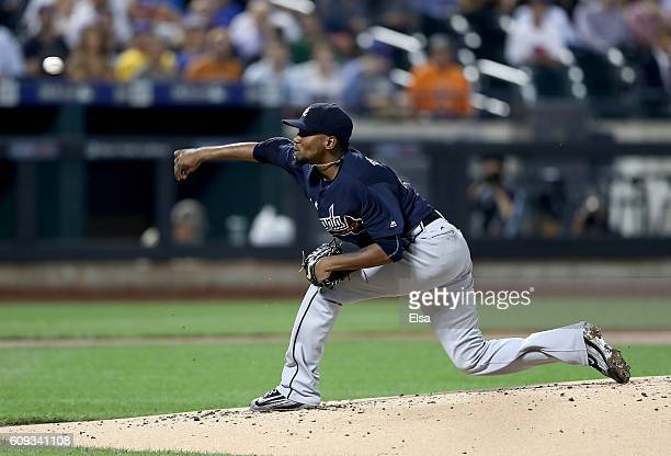 Julio Teheran of the Atlanta Braves delivers a pitch in the first inning against the New York Mets on September 20 2016 at Citi Field in the Flushing...