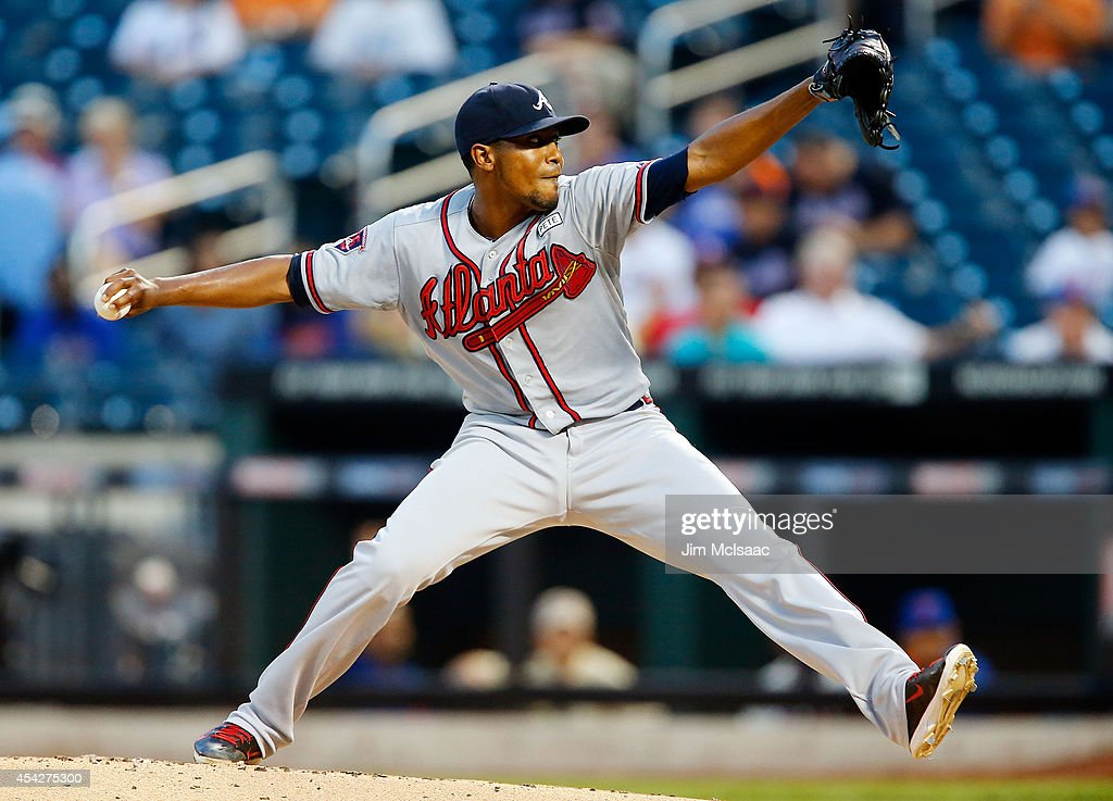Julio Teheran #49 of the Atlanta Braves in action against the New York Mets at Citi Field on August 27, 2014 in the Flushing neighborhood of the Queens borough of New York City. The Braves defeated the Mets 3-2.