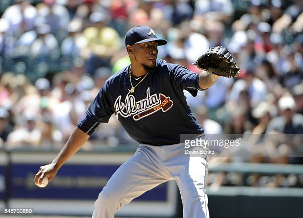 Julio Teheran of the Atlanta Braves pitches against the Chicago White Sox during the first inning in a interleague game on July 9 2016 at U S...