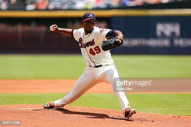 Julio Teheran of the Atlanta Braves pitches against the Colorado Rockies in the first inning on July 17 2016 at Turner Field in Atlanta Georgia