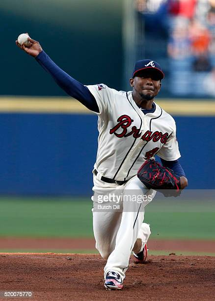 Julio Teheran of the Atlanta Braves pitches during the first inning of a baseball game against the St Louis Cardinals at Turner Field on April 9 2016...