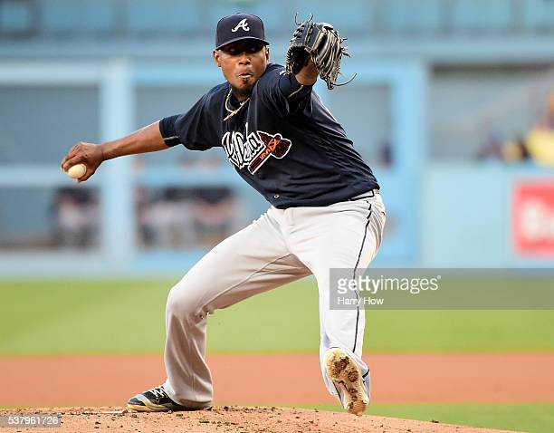 Julio Teheran of the Atlanta Braves pitches during the first inning against the Los Angeles Dodgers at Dodger Stadium on June 3 2016 in Los Angeles...