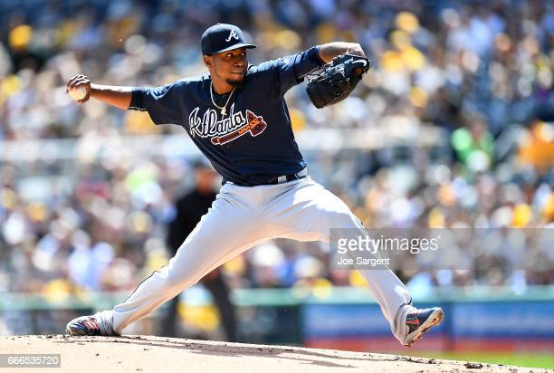 Julio Teheran of the Atlanta Braves pitches during the first inning against the Pittsburgh Pirates at PNC Park on April 9 2017 in Pittsburgh...