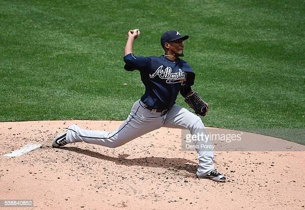 Julio Teheran of the Atlanta Braves pitches during the third inning of a baseball game against the San Diego Padres at PETCO Park on June 8 2016 in...