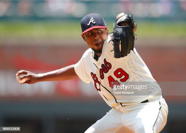 Silvino Bracho of the Arizona Diamondbacks pitches in the eighth inning of an MLB game against the Atlanta Braves at SunTrust Park on July 15 2018 in...