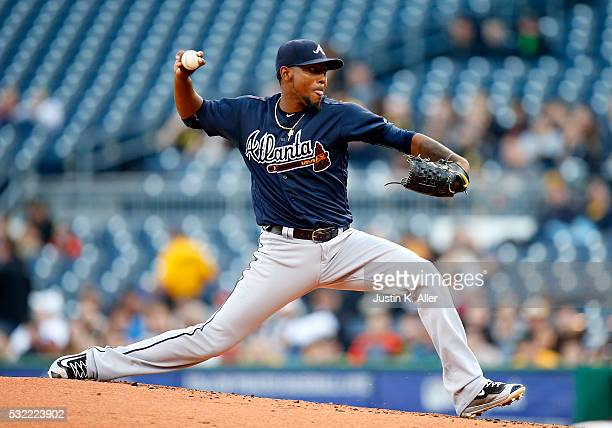 Julio Teheran of the Atlanta Braves pitches in the first inning during the game against the Pittsburgh Pirates at PNC Park on May 18 2016 in...