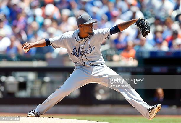 Julio Teheran of the Atlanta Braves pitches in the first inning against the New York Mets at Citi Field on June 19 2016 in the Flushing neighborhood...