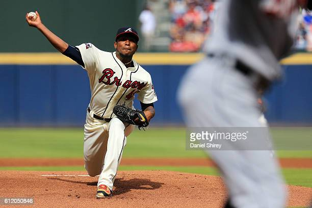 Julio Teheran of the Atlanta Braves pitches in the first inning against the Detroit Tigers at Turner Field on October 2 2016 in Atlanta Georgia
