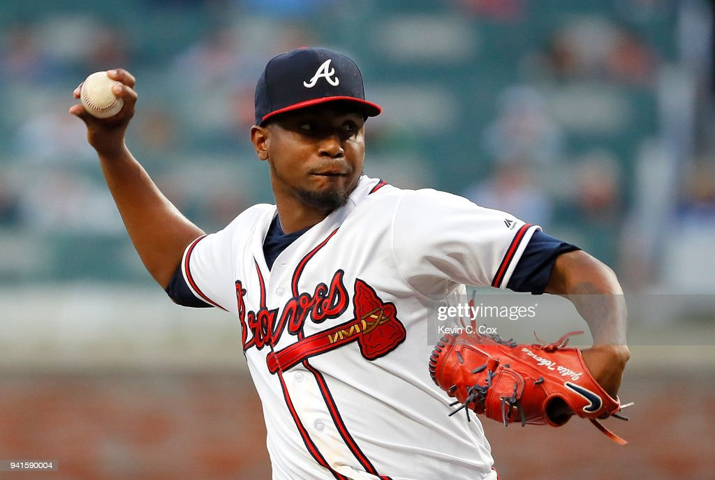 Julio Teheran #49 of the Atlanta Braves pitches in the first inning against the Washington Nationals at SunTrust Park on April 3, 2018 in Atlanta, Georgia.