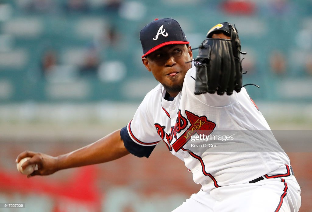 Julio Teheran #49 of the Atlanta Braves pitches in the first inning against the Philadelphia Phillies at SunTrust Park on April 16, 2018 in Atlanta, Georgia.