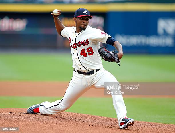Julio Teheran of the Atlanta Braves pitches in the first inning to the New York Yankees at Turner Field on August 30 2015 in Atlanta Georgia