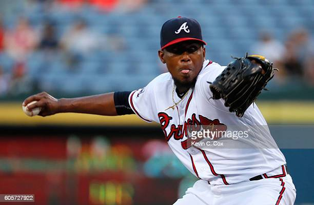 Julio Teheran of the Atlanta Braves pitches in the first inning to the Miami Marlins at Turner Field on September 14 2016 in Atlanta Georgia