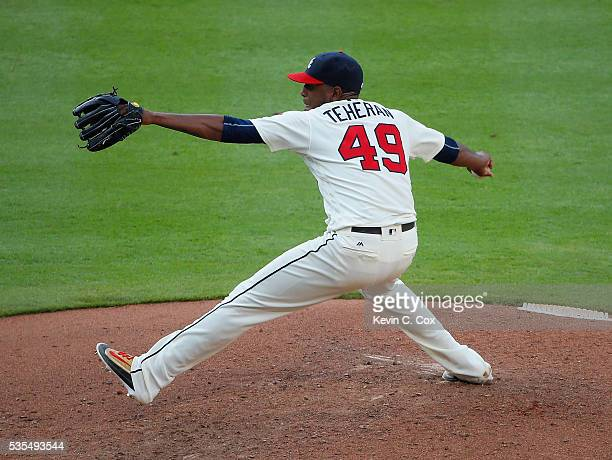 Julio Teheran of the Atlanta Braves pitches in the fourth inning against the Miami Marlins at Turner Field on May 29 2016 in Atlanta Georgia