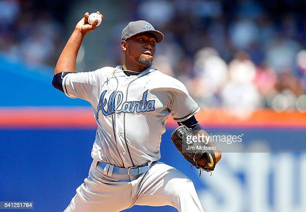 Julio Teheran of the Atlanta Braves pitches in the second inning against the New York Mets at Citi Field on June 19 2016 in the Flushing neighborhood...