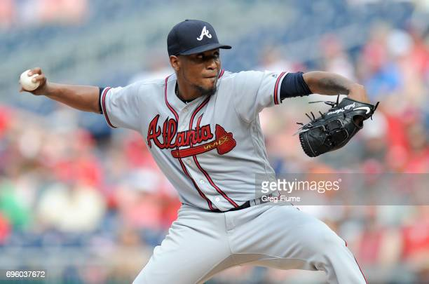Julio Teheran of the Atlanta Braves pitches in the second inning against the Washington Nationals at Nationals Park on June 14 2017 in Washington DC