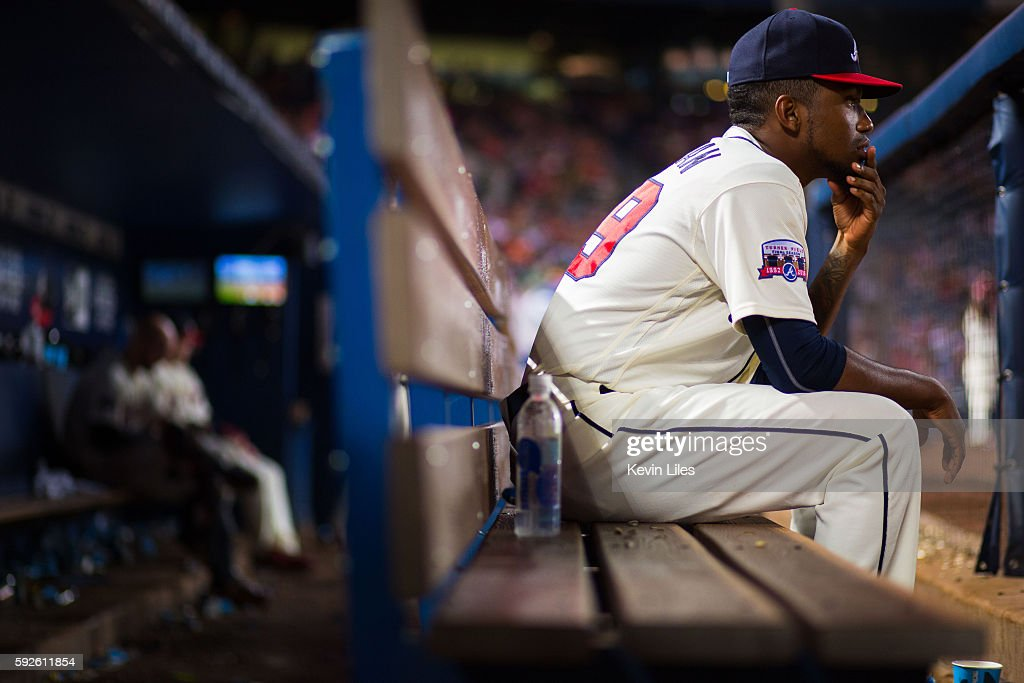 Julio Teheran #49 of the Atlanta Braves sits on the bench during the game against the Washington Nationals at Turner Field on August 20, 2016 in Atlanta, Georgia. Washington won 11-9.