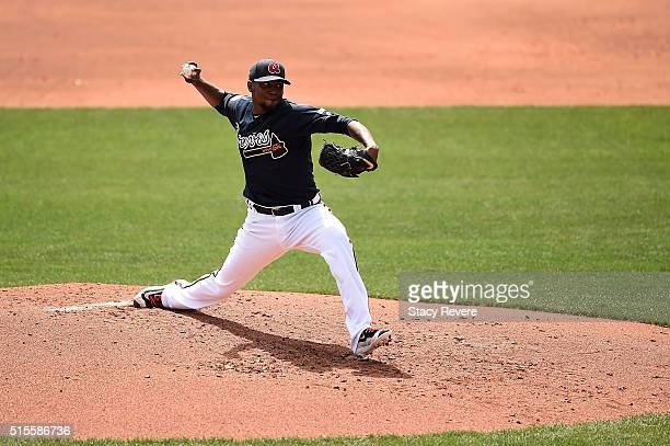 Julio Teheran of the Atlanta Braves throws a pitch during the third inning of a spring training game against the Tampa Bay Rays at Champion Stadium...